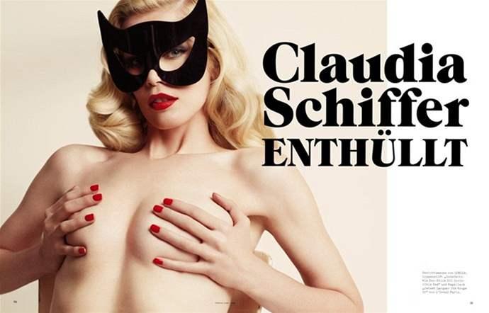 Claudia Schifferová na titulní straně německého vydání časopisu Vogue