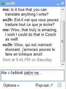Chat - strojový překlad z angličtiny do francouzštiny