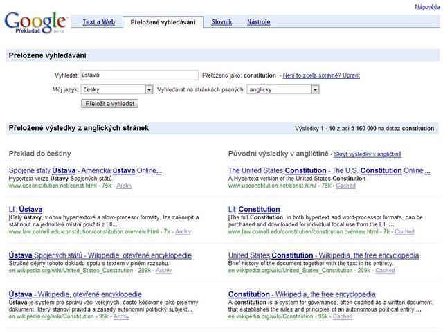Google Translate - překlad vyhledávání