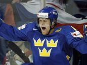 Hornqvist oslavuje vedoucí branku Švédska