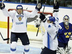Švédsko - Finsko: Finové se radují z gólu v zápase o bronz