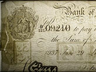 Detail vodoznaku na falešné librové bankovka vyrobená přímo Adolfem Burgerem