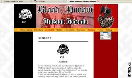 Otisk stránky Blood and Honour Division Bohemia