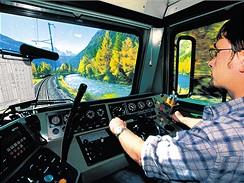Švýcarsko, pohled z kabiny lokomotivy