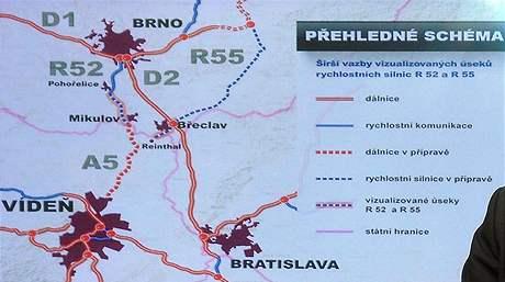 Schéma silnice z Brna do Vídně