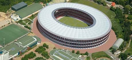 Vizualizace nového fotbalového stadionu v Brně