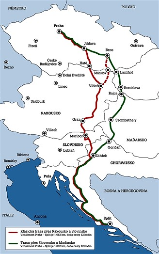 Trasy do Chorvatska - mapa