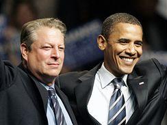 Al Gore s demokratickým kandidátem na prezidenta USA Barackem Obamou
