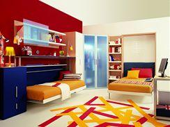 Dětský pokoj se sklopnými postelemi po rozložení