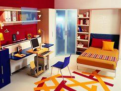 Dětský pokoj s postelí ve složeném stavu