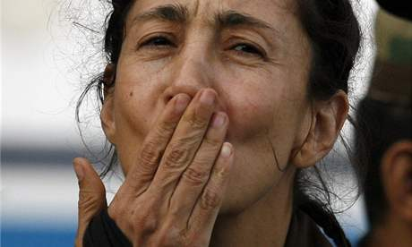 Osvobozená Ingrid Betancourtová (3. července 2008)
