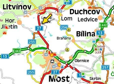 mapa - bomba v Záluží u Litvínova