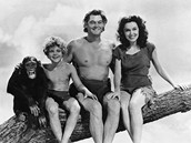 Šimpanz Cheeta s hereckými kolegy