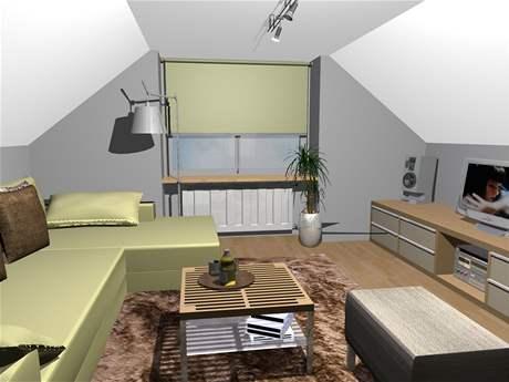 Proměna obývací kuchyně v podkroví