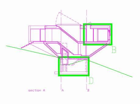 Řez domem  s kónickým tvarem