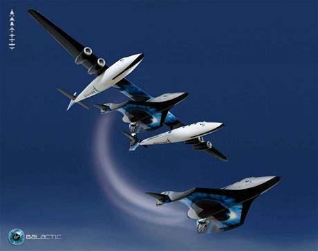 Virgin Galactic - odpojení rakety od nosného letounu