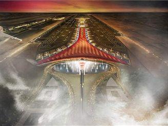 Termiál 3 Pekingského letiště - vizualizace z letadla