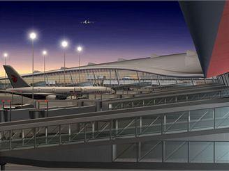 Termiál 3 Pekingského letiště - vizualizace příchodu k letadlům