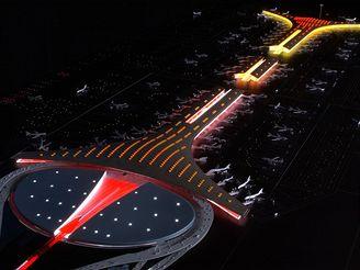 Termiál 3 Pekingského letiště - vizualizace nočního provozu