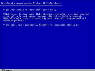 Windows XP neumí pracovat se SATA diskem