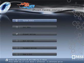 Hlavní menu EFI Bios