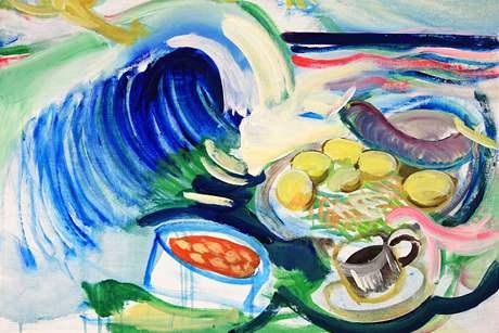 Vladimír Franz namaloval sedm pokrmů z jídelního lístku