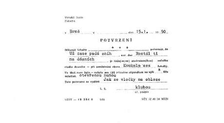Báseň Norberta Holuba vepsaná do formuláře