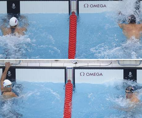 Finálový dohmat plavců Čaviče (vlevo) a Phelpse