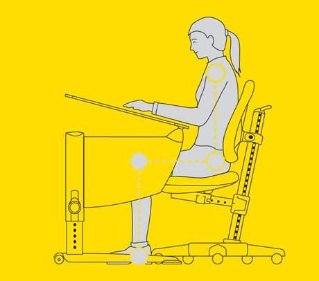 Správně nastavená výška židle a stolu při psaní či čtení