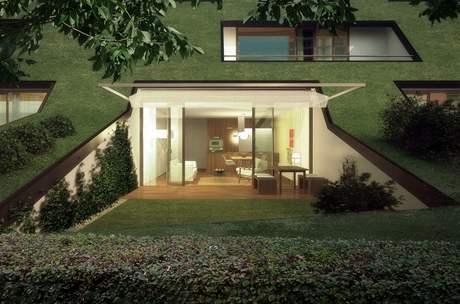 Viladomy se zelenými střechami představují netradiční řešení