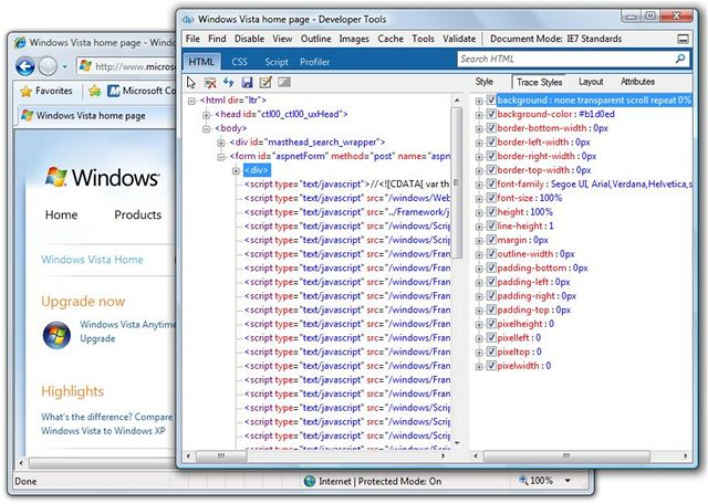 IE8 beta 2: Developer Tools