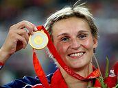 Barbora Špotáková se zlatou medailí - Oštěpařka Barbora Špotáková se zlatou olympijskou medaili.
