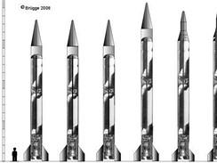 Rodina raket Nodong - zleva základní Nodong 1, Shahab 3, Ghauri I (Pákistán), Nodong 2, Shahab 3M, Ghadr 1, Ghauri II (Pákistán)