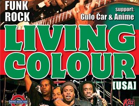 Plakát na koncert Living Colour v Brně