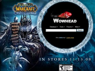 Wrath of Lich King - WoWhead reklama