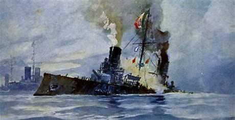 Křižník Garibaldi jde ke dnu