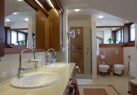 V koupelně nechybí bidet ani zvětšovací zrcadlo s lupou