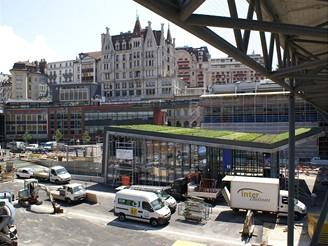 Pohled na stanici Lausanne Flon