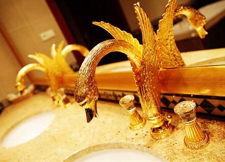 """Ze zlatých hrdel """"tryská"""" voda v koupelně prezidentského apartmá"""