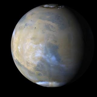 Pohled na Mars ze sondy MRO počátkem září 2008