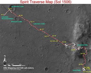 Spirit na povrchu Marsu
