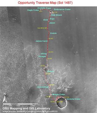 Cesta Opportunuity po Marsu