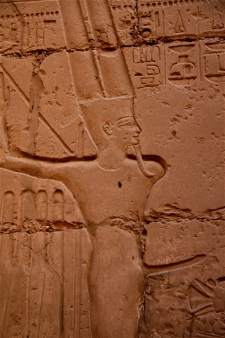 Egypt. Bůh plodnosti v chrámu v Karnaku