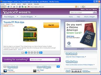 Yahoo widgets
