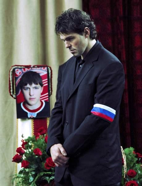 Jaromír Jágr na pohřbu Alexeje Čerepanova