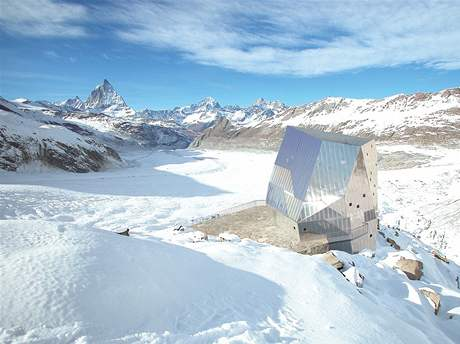 Chata ve tvaru krystalu u švýcarského Matterhornu