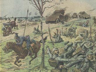 Rakousko-uherské jednotky vzdorují na dobové kresbě belgickým obrněncům.