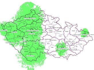 Orientační mapa pokrytí ČR sítí 1 (veřejnoprávní multiplex)