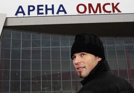 Jaromír Jágr před Arénou Omsk