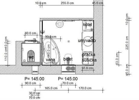 Rekonstrukce koupelny: první varianta